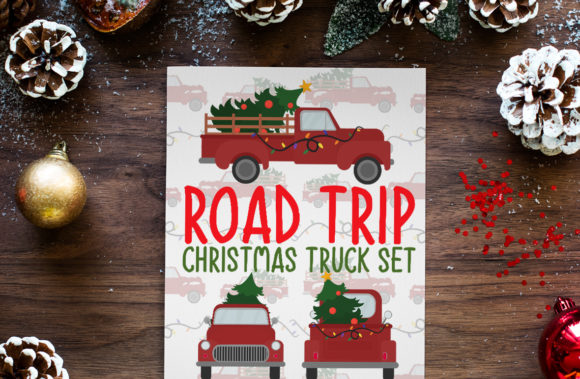 Road Trip, Christmas Truck Set Grafik Plotterdateien von Firefly Designs