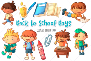 Print on Demand: School Boys Clip Art Graphic Illustrations By Keepinitkawaiidesign