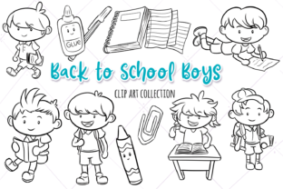 Print on Demand: School Boys Digital Stamps Graphic Illustrations By Keepinitkawaiidesign