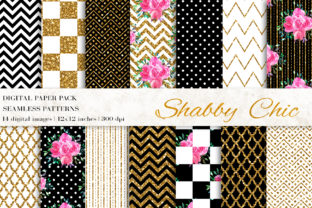 Shabby Chic Digital Paper Graphic Patterns By BonaDesigns