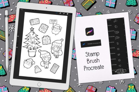 Print on Demand: Stamp Brush Procreate | Christmas 01 Graphic Brushes By Gii Digital Art
