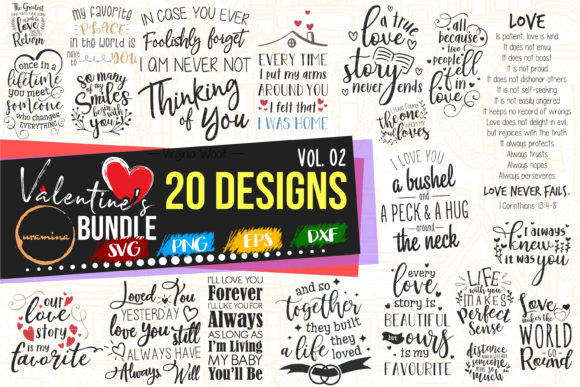 Print on Demand: Valentine Bundle Vol 02 - Love Quote Art Grafik Plotterdateien von Uramina