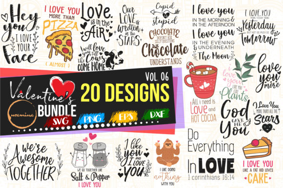 Print on Demand: Valentine Bundle Vol 06 Cut & Printables Graphic Crafts By Uramina