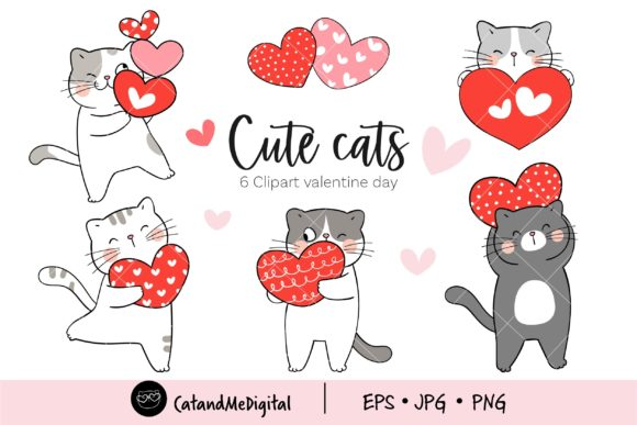 Valentine Cute Cat Clipart. Graphic Illustrations By CatAndMe