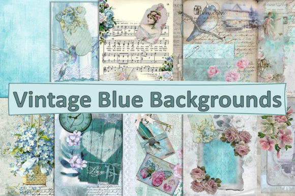 Print on Demand: Vintage Winter Blue Backgrounds PDF JPEG Graphic Backgrounds By The Paper Princess