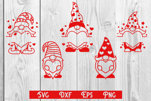Print on Demand: Gnomes Heart Valentine, Gnomes Monogram Graphic Print Templates By dadan_pm