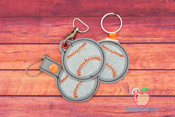 Baseball ITH Keyfob Sports Embroidery Design By embroiderydesigns101