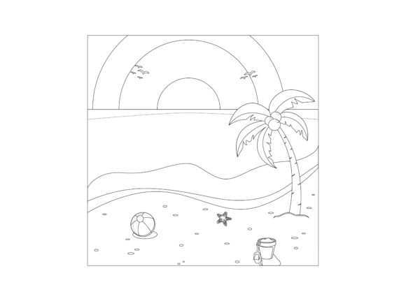 Beautiful Beach Outline Icon Graphic Coloring Pages & Books By printablesplazza