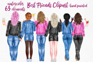Print on Demand: Best Friends Clipart Jeans Jackets Mug Graphic Illustrations By LeCoqDesign