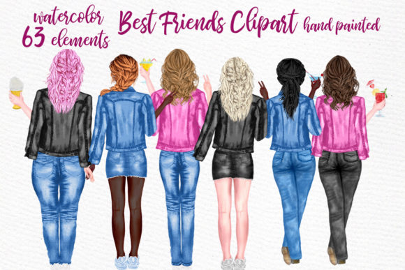 Best Friends Clipart Jeans Jackets Mug Grafik Illustrationen von LeCoqDesign