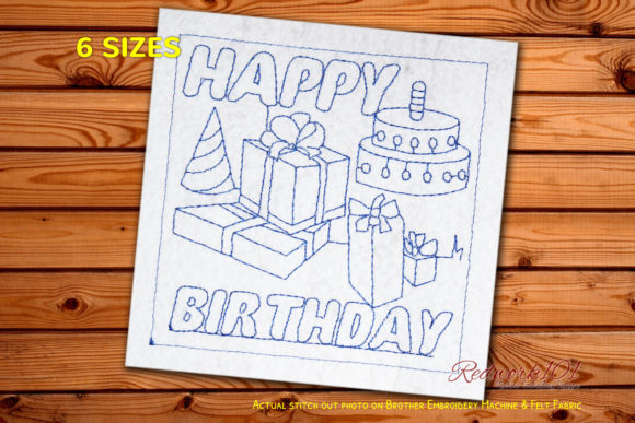 Birthday Celebration with Cake and Gifts Birthdays Embroidery Design By Redwork101