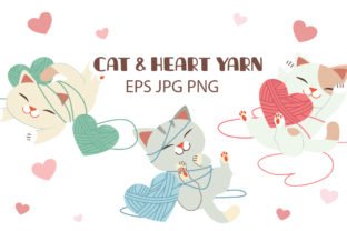 Bundle of Cat with Heart Yarn Graphic Illustrations By Guppic the duck
