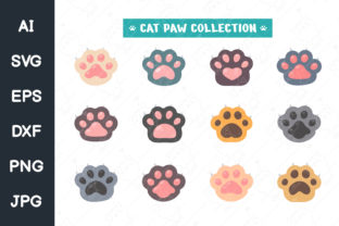 Print on Demand: Cat Paw Set Different Species. Svg File Graphic Icons By CRStocker