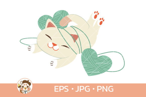 Cat with Heart Yarn Set 03 Graphic Illustrations By Guppic the duck