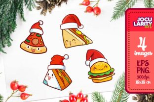 Print on Demand: Cute Fast Food in Christmas Mode Graphic Illustrations By JocularityArt