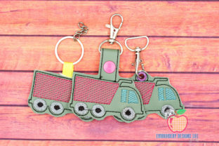Dump Truck ITH Keyfob Design Transportation Embroidery Design By embroiderydesigns101