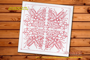 Floral Quilt Block Intricate Cuts Embroidery Design By Redwork101
