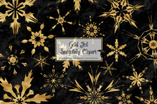 Print on Demand: Gold Foil Snowflakes Clipart Graphic Crafts By Digital Curio