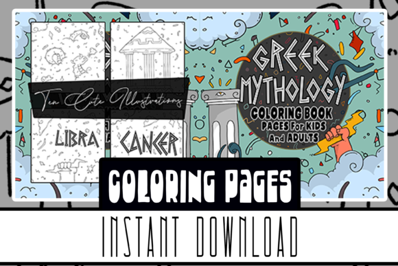 Greek Mythology Coloring Books 10 Pages Graphic Coloring Pages & Books Kids By Rabbit Art