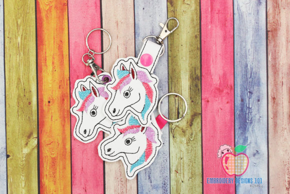 Horse Head ITH Keyfob Wild Animals Embroidery Design By embroiderydesigns101