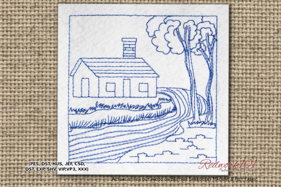 House Side of River Cities & Villages Embroidery Design By Redwork101