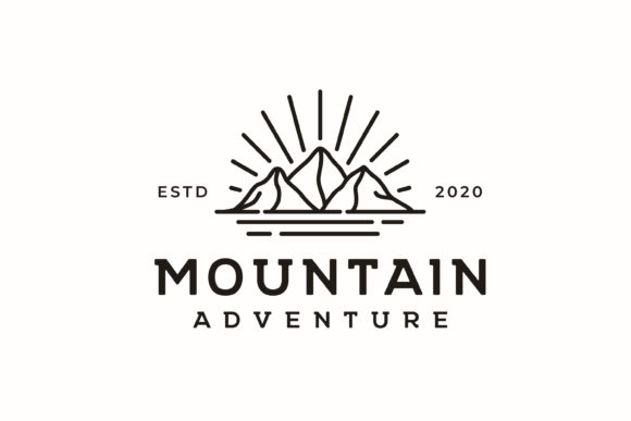 Mountain, Sea and Sunbruh Adventure Logo Graphic Logos By Weasley99