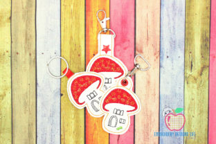 Mushroom House ITH Keyfob Fairy Tales Embroidery Design By embroiderydesigns101