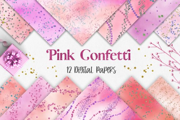 Pink Watercolor Confetti Glitter Graphic Backgrounds By PinkPearly