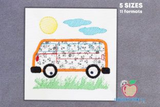 Retro Bus Applique Transportation Embroidery Design By embroiderydesigns101