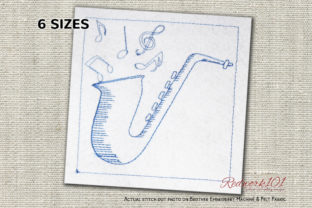 Saxophone Lineart Design Music Embroidery Design By Redwork101