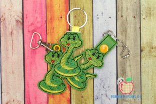 Snake ITH Snaptab Keyfob Reptiles Embroidery Design By embroiderydesigns101