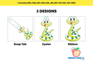 Snake ITH Snaptab Keyfob Reptiles Embroidery Design By embroiderydesigns101 2