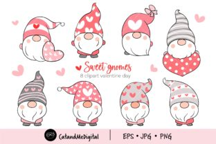 Sweet Gnomes Valentine Graphic Illustrations By CatAndMe