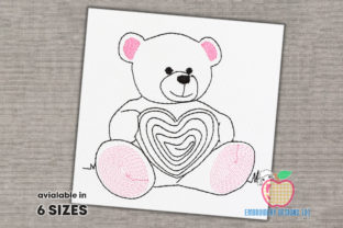 Teddy Bear Holding Heart Sketch Wild Animals Embroidery Design By embroiderydesigns101