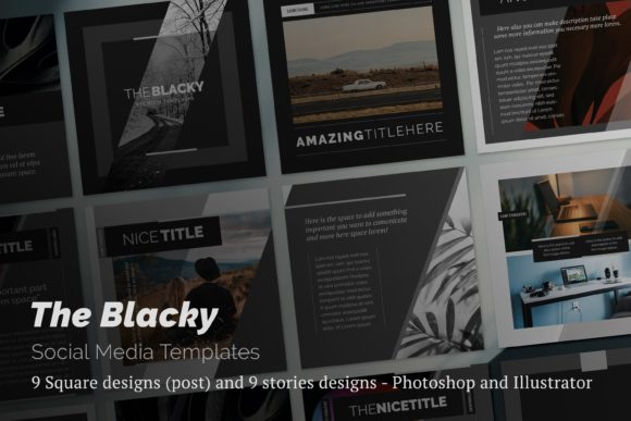 The Blacky Social Media Templates Graphic Websites By LuuqasDesign