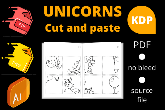 Print on Demand: Unicorns Cut and Paste Volume 1 Graphic KDP Interiors By Dunkyshot
