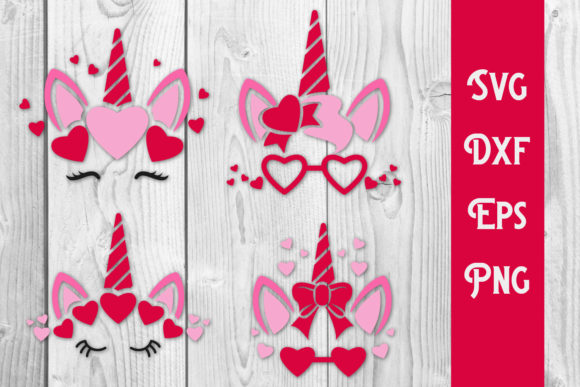 Print on Demand: Valentine's Unicorn SVG,Love Unicorn Graphic Print Templates By dadan_pm