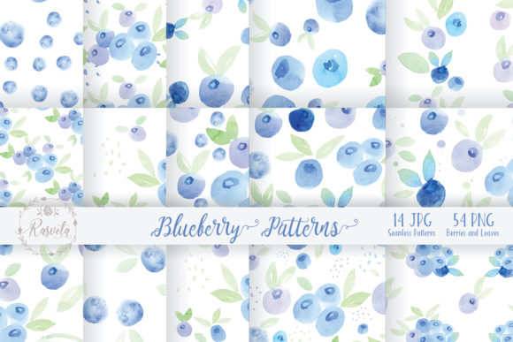 Watercolor Painting Blueberry Graphic Illustrations By Rasveta