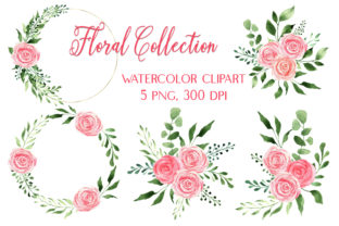 Watercolor Pink Roses Bouquets & Wreaths Graphic Illustrations By outlander1746