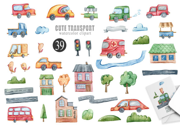 Print on Demand: Watercolor Funny Cars Clipart. 39 Png Graphic Illustrations By Tiana Geo