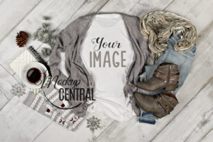 Woman's White Winter T-Shirt Mockup Graphic Product Mockups By Mockup Central