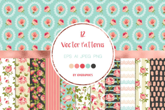 12 Elegant Flowers Seamless Patterns Graphic Patterns By GVGraphics