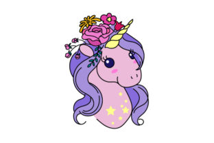 Unicorn Head with Flower Crown Designs & Drawings Craft Cut File By Creative Fabrica Crafts