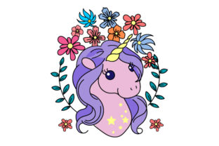 Unicorn Head Surrounded by Flowers Designs & Drawings Craft Cut File By Creative Fabrica Crafts