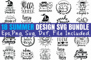 Print on Demand: 18 Summer Design SVG Bundle Graphic Graphic Templates By BDB_Graphics