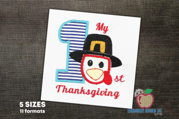 1st Thanksgiving Applique Thanksgiving Embroidery Design By embroiderydesigns101