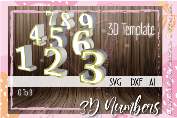 Print on Demand: 3D Numbers 0 to 9 Graphic 3D SVG By Marcel de Cisneros