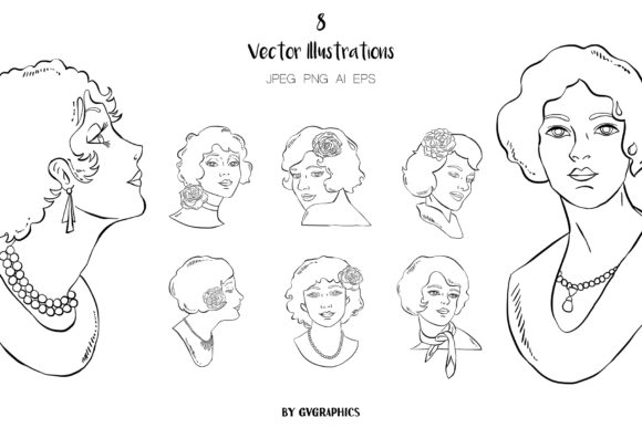 8 Retro Women Vector Illustrations Graphic Illustrations By GVGraphics