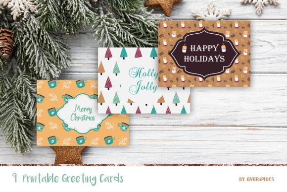 9 Christmas Printable Greeting Cards Graphic Print Templates By GVGraphics