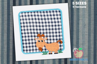 A Cartoon Goat in the Box Eating Grass Farm Animals Embroidery Design By embroiderydesigns101
